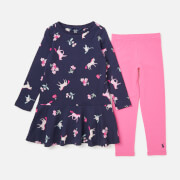 Joules Girls' Iona Dress And Leggings Set - Navy Unicorn Floral