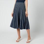 MICHAEL Michael Kors Women's Pin Stripe Chain Skirt - Midnight Blue/White