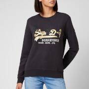 Superdry Women's Vl Itago Crewneck Sweatshirt - Washed Black