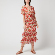 Hope & Ivy Women's The Maisy Made with Liberty Fabric - Blush and Red