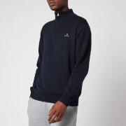 GANT Men's Classic Cotton Half Zip Jumper - Evening Blue