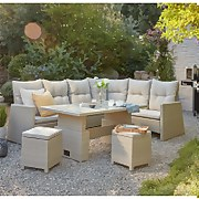 Hartington Rattan Albury Rising Corner Dining Sofa Set in Natural
