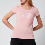 Emporio Armani EA7 Women's Train Shiny T-Shirt - Quartz Pink/White