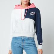 Tommy Jeans Women's Tjw Crop Colorblock Logo Hoodie - Silver Grey Htr/Multi
