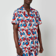 Tommy Jeans Men's Classic All Over Print Short Sleeve Shirt - Parrot Print