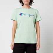 Champion Women's Large Script Crew Neck T-Shirt - Mint Green