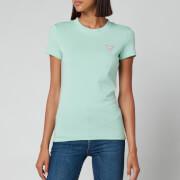 Guess Women's Short Sleeve Crewneck Mini Triangle T-Shirt - Surf Jade