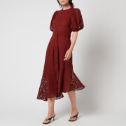 Ted Baker Women's Belllaa Puff Sleeve Midi Broderie Dress - Dark Orange