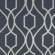 Apex Trellis Navy and Champagne Gold  Wallpaper