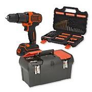 BLACK+DECKER 18V Cordless Hammer Drill Kit plus 109 Piece Accessories Set and 19'' Toolbox Bundle