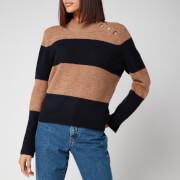 Whistles Women's Stripe Button Neck Funnel Jumper - Oatmeal/Navy