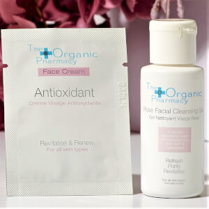 The Organic Pharmacy Rose Facial Cleanser 20ml and Antioxidant Face Cream Packette (Worth $21)