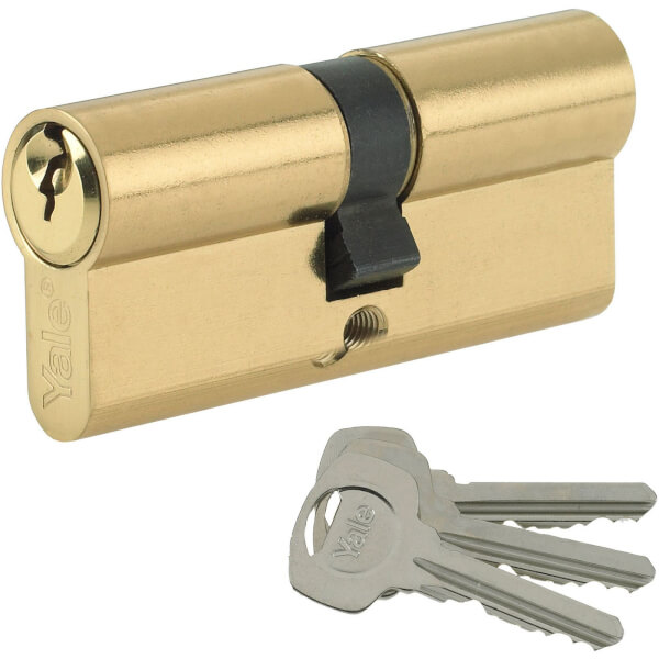 Yale Standard Euro Double Cylinder - 45:10:45 (80mm) - Brass Finish
