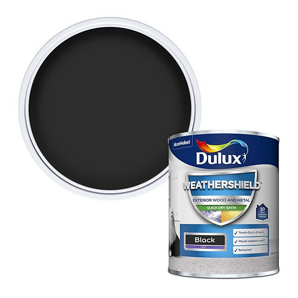 Dulux Weathershield Exterior Quick Dry Satin Paint - Black - 750ml