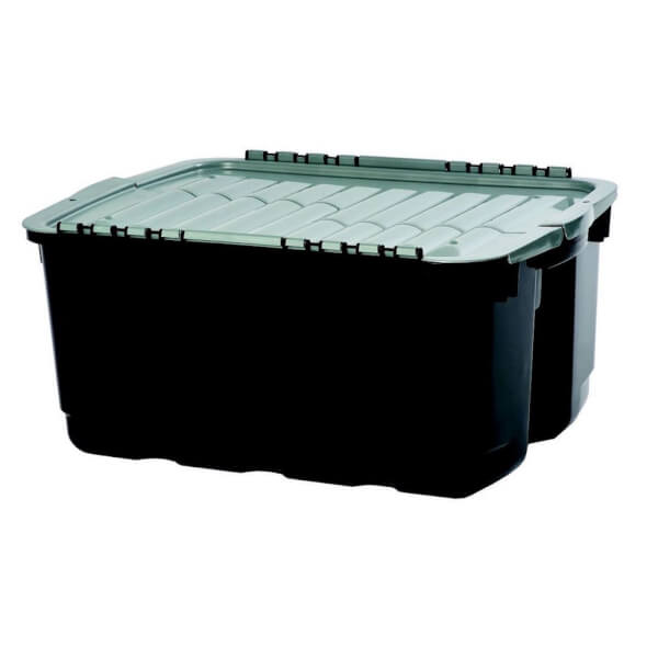 Curver Tuff Heavy Duty Plastic Storage Box - Grey & Black - 49L