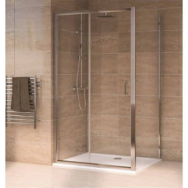 Aqualux Sliding Door 1200 x 800mm Shower Enclosure and Tray Package