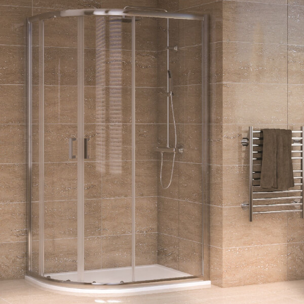 Aqualux Offset Quadrant 1200 x 800mm LH Shower Enclosure and Tray Package