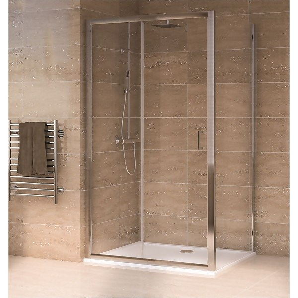Aqualux Sliding Door 1700 x 800mm Shower Enclosure and Tray Package