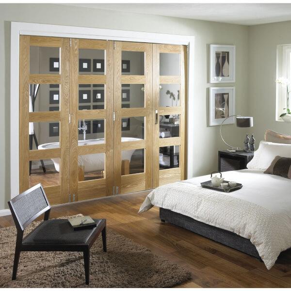 Clear Glazed Oak Folding Internal Doorset - 2545mm Wide