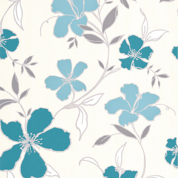 Superfresco Easy Paste the Wall Rapture Teal & Silver Wallpaper