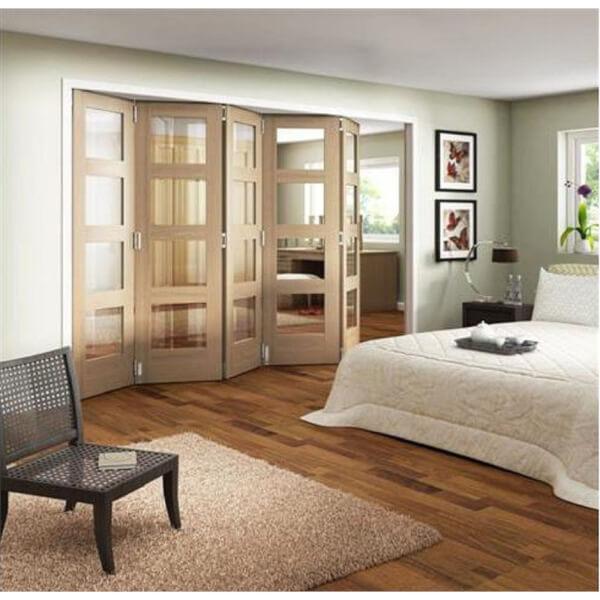 Room Glazed Folding Oak Internal Doorset - 3158mm Wide