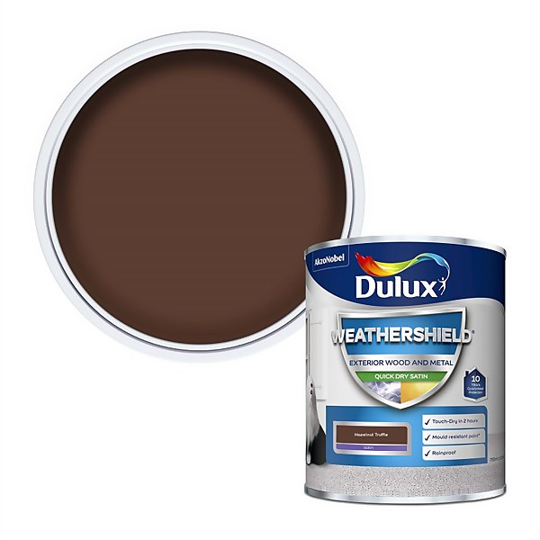 Dulux Weathershield Exterior Satin Paint - Hazelnut Truffle - 750ml