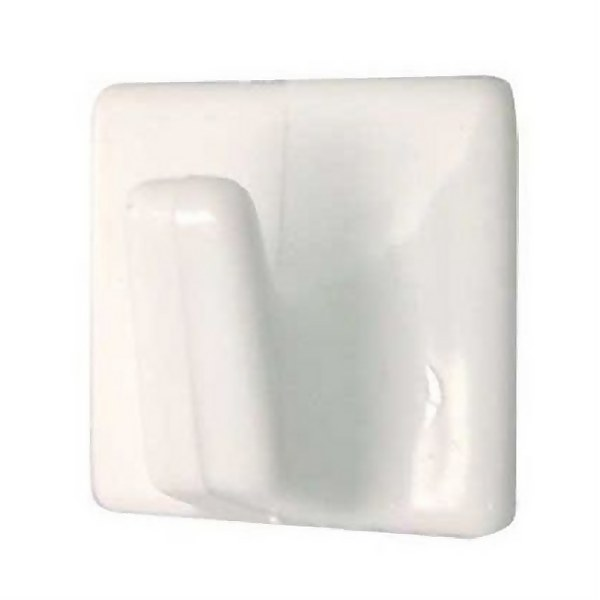 Small Square Self-adhesive Hook - White - 4 Pack