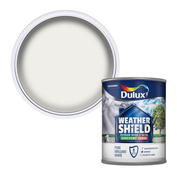 Dulux Weathershield Exterior Quick Dry Gloss Paint - Pure Brilliant White - 750ml