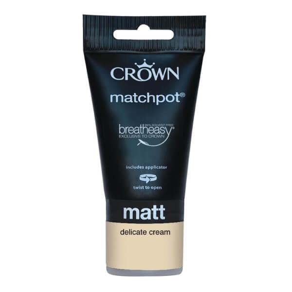 Crown Breatheasy Neutrals Delicate Cream - Matt Tester Paint - 40ml Tester
