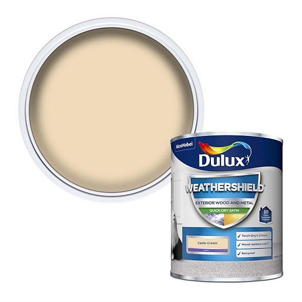 Dulux Weathershield Exterior Quick Dry Satin Paint - Celtic Cream - 750ml