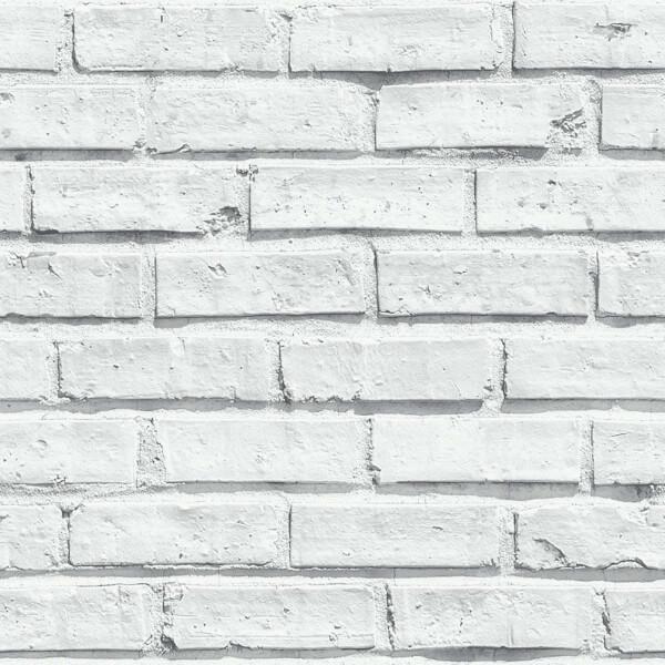 Arthouse Brick Effect Smooth White Wallpaper