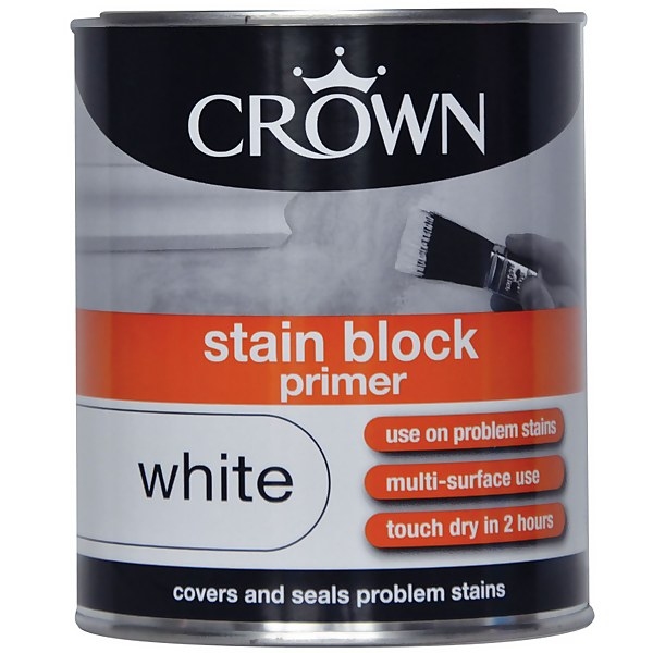Crown Stain Block Primer - Pure Brilliant White Paint - 750ml