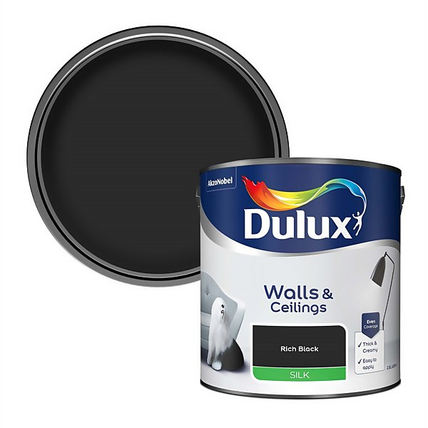 Dulux Rich Black - Silk Paint - 2.5L