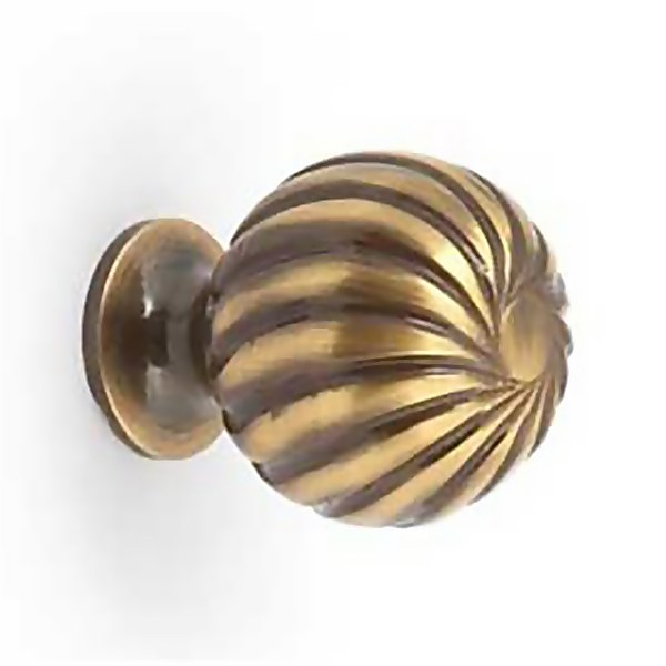 Knob Swirl Ball Polished Brass