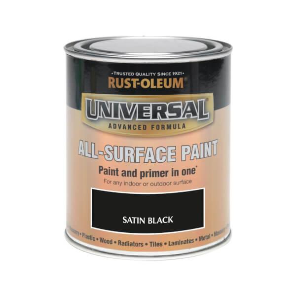 Rust-Oleum Universal All Surface Satin Paint & Primer - Black - 750ml