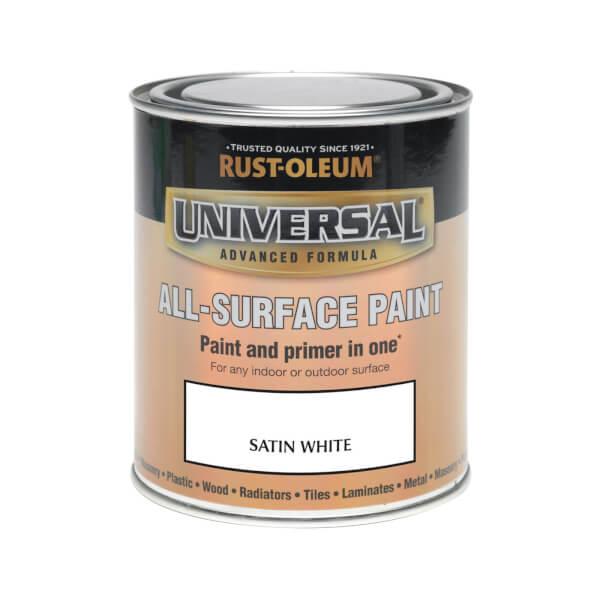 Rust-Oleum Universal All Surface Satin Paint & Primer - White - 750ml
