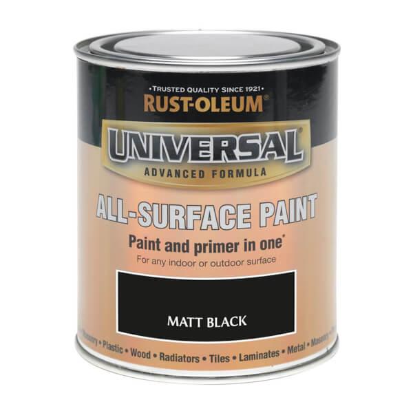Rust-Oleum Universal All Surface Matt Paint & Primer - Black - 250ml