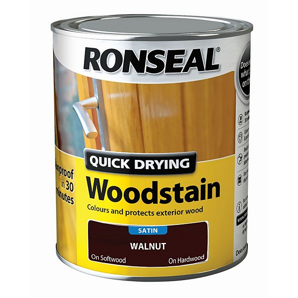 Ronseal Quick Drying Woodstain Satin Walnut - 750ml
