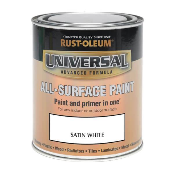 Rust-Oleum Universal All Surface Satin Paint & Primer - White - 250ml