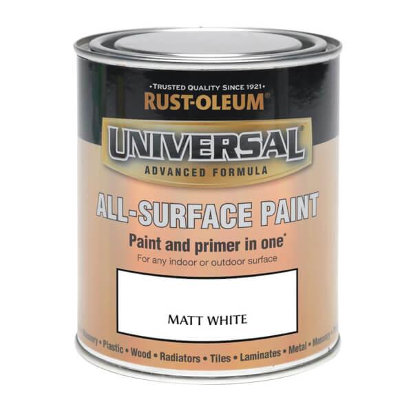 Rust-Oleum Universal All Surface Matt Paint & Primer - White - 250ml