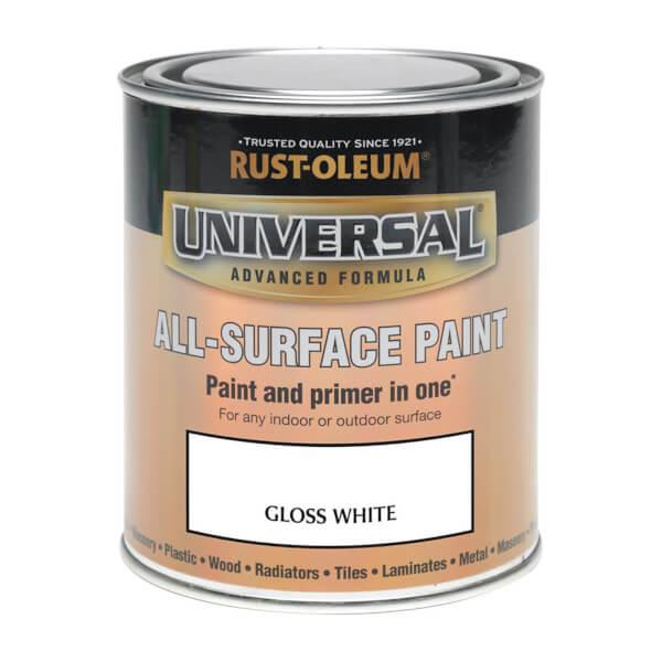 Rust-Oleum Universal All Surface Gloss Paint & Primer - White - 250ml