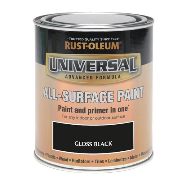 Rust-Oleum Universal All Surface Gloss Paint & Primer - Black - 250ml