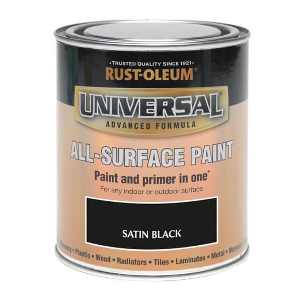 Rust-Oleum Universal All Surface Satin Paint & Primer - Black - 250ml