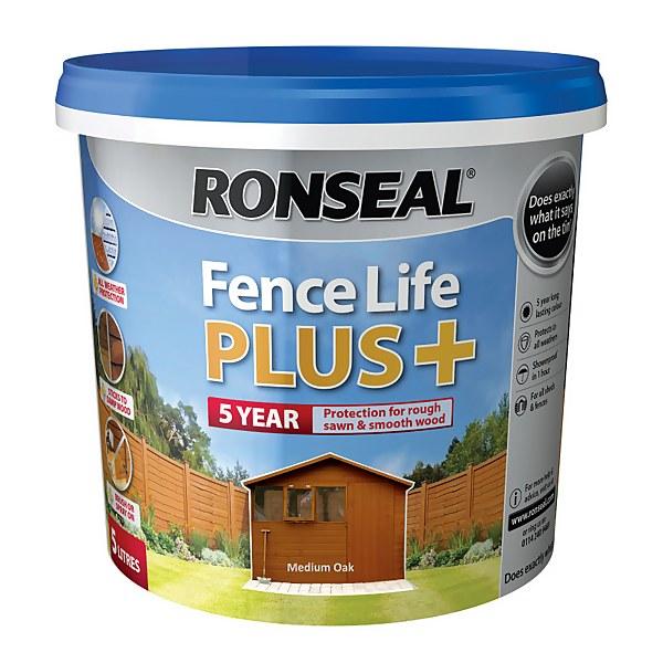 Ronseal Fence Life Plus Medium Oak - 5L
