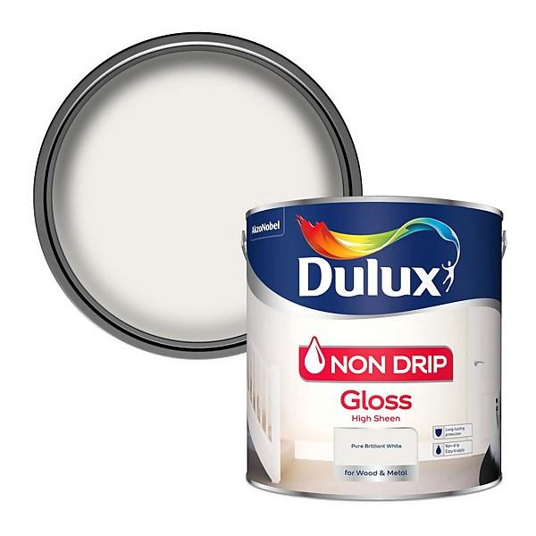 Dulux Pure Brilliant White - Non Drip Gloss Paint - 2.5L