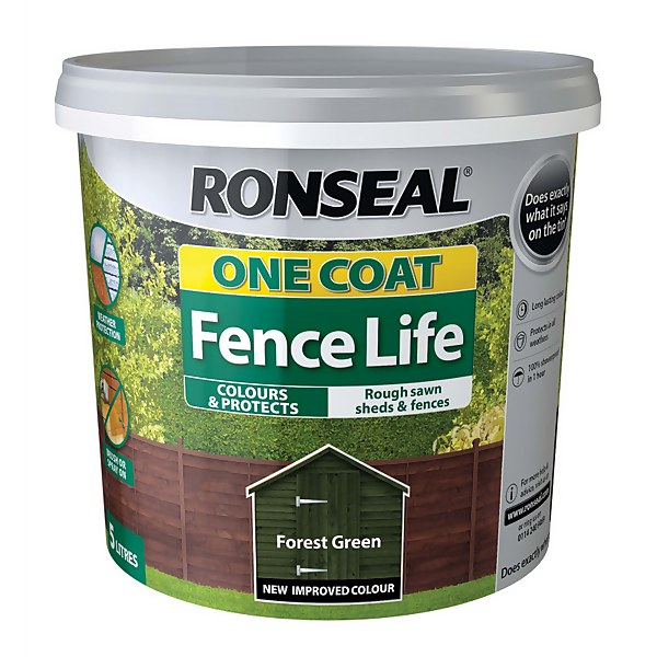 Ronseal One Coat Fence Life Forest Green - 5L