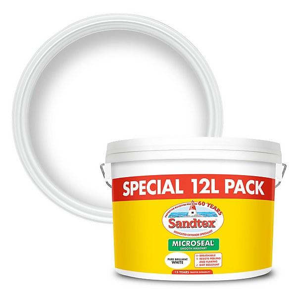 Sandtex Ultra Smooth Masonry Paint - Pure Brilliant White - 12L