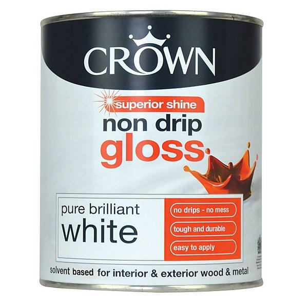 Crown Pure Brilliant White - Non Drip Gloss Paint - 750ml