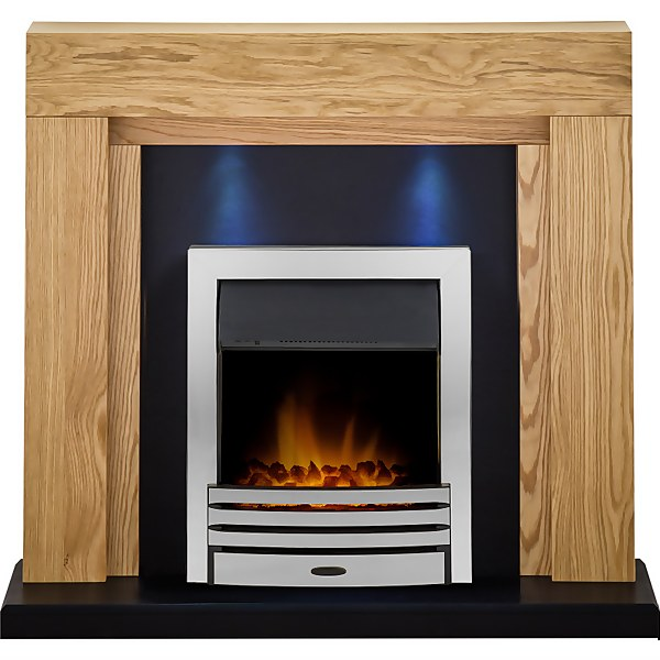 Adam Montana in Oak & Black with Downlights & Eclipse Electric Fire in Chrome