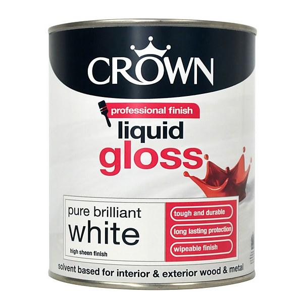 Crown Pure Brilliant White - Liquid Gloss Paint - 750ml